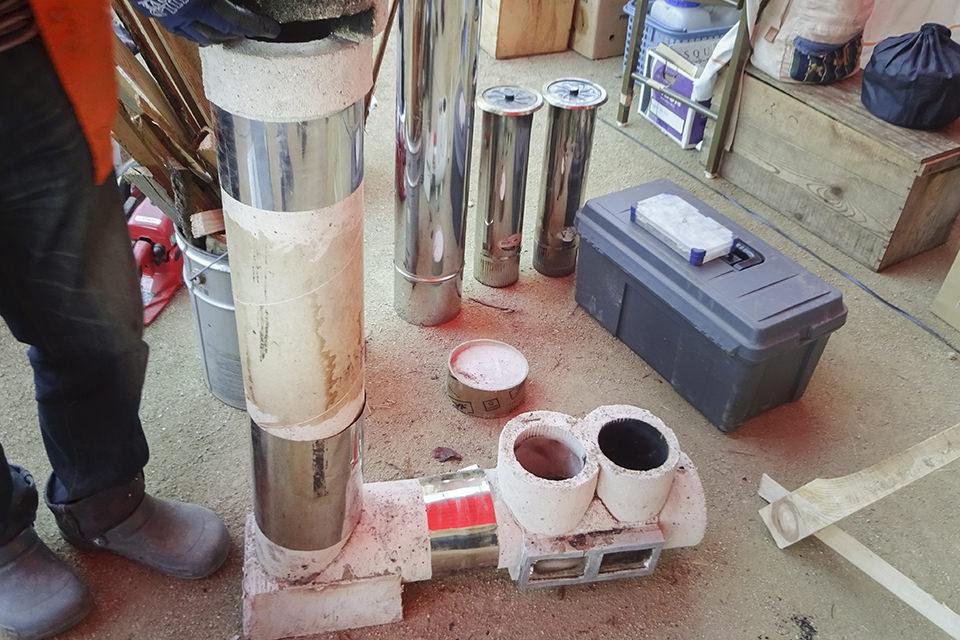 耐火セメントでロケットストーブを作ったよ!