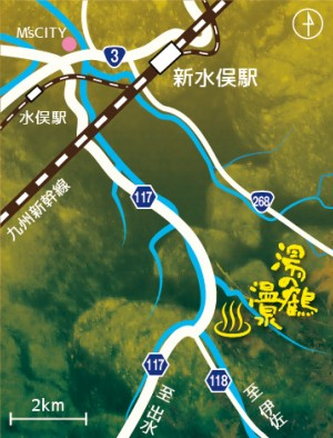 水俣市・湯の鶴の地図